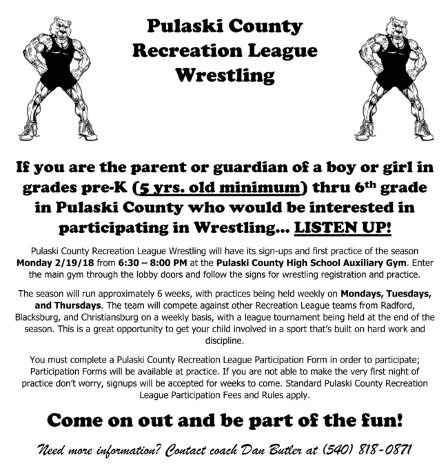 Recreation Wrestling Signup Set